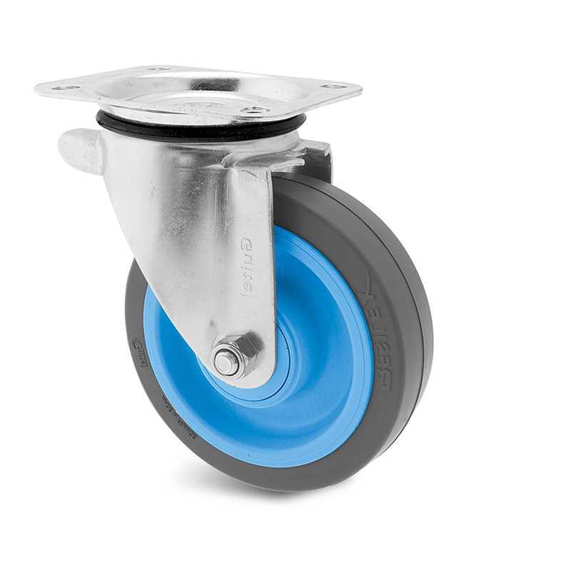 Roulette caoutchouc élastique platine pivotante