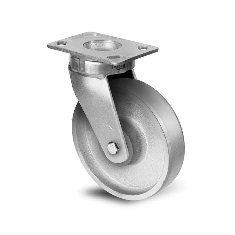 Roulette fonte à platine pivotante