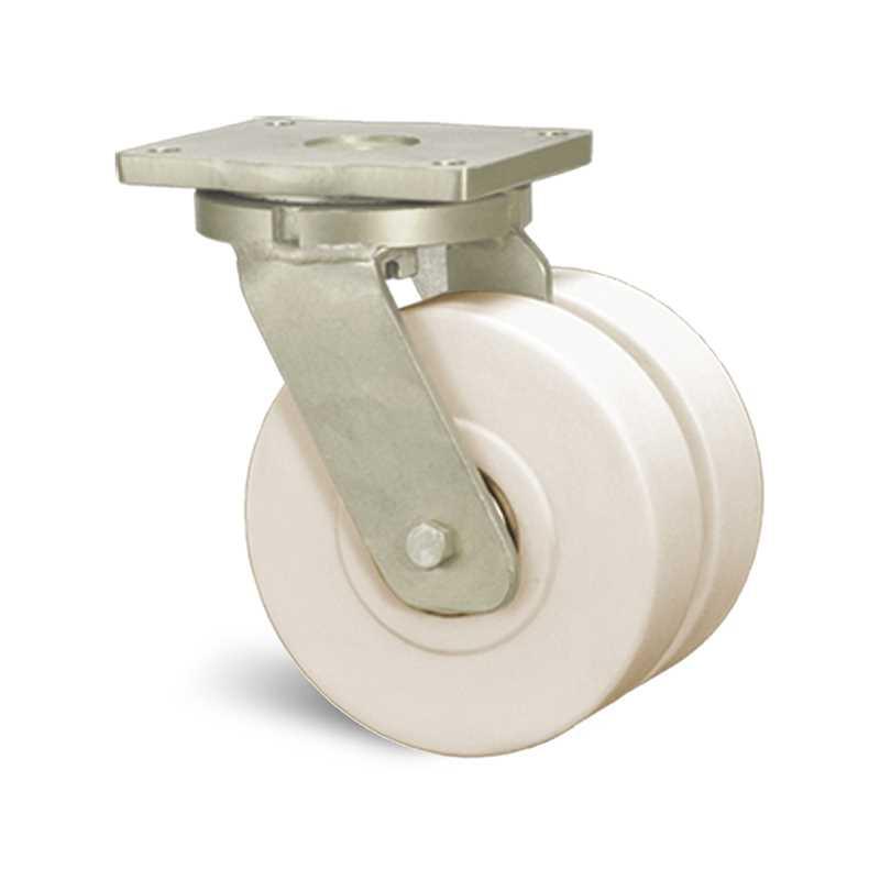 Roulette jumelée à platine pivotante polyamide
