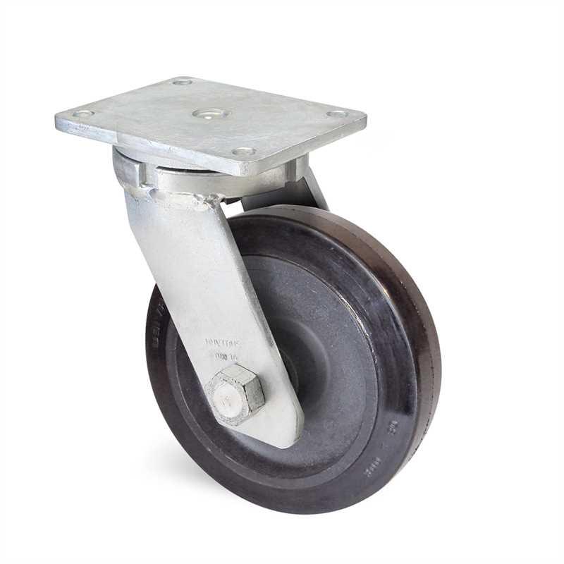 Roulette caoutchouc élastique 700 kg à platine pivotante