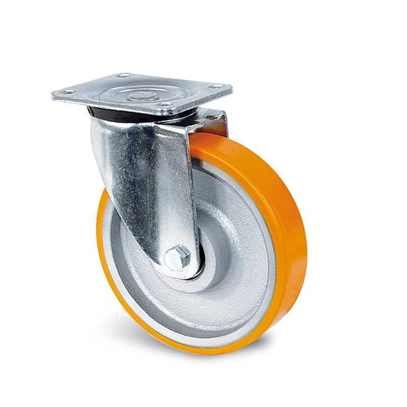 Roulette à platine pivotante polyuréthane