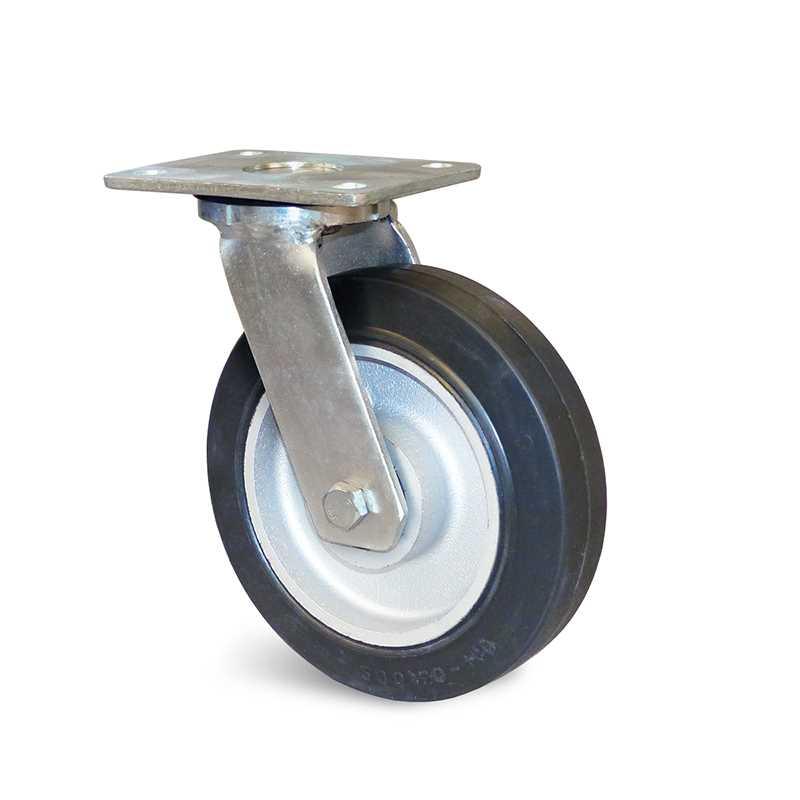 Roulette à platine pivotante caoutchouc élastique