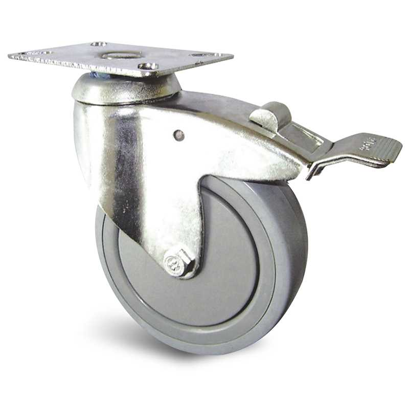 Roulette à platine pivotante caoutchouc thermoplastique