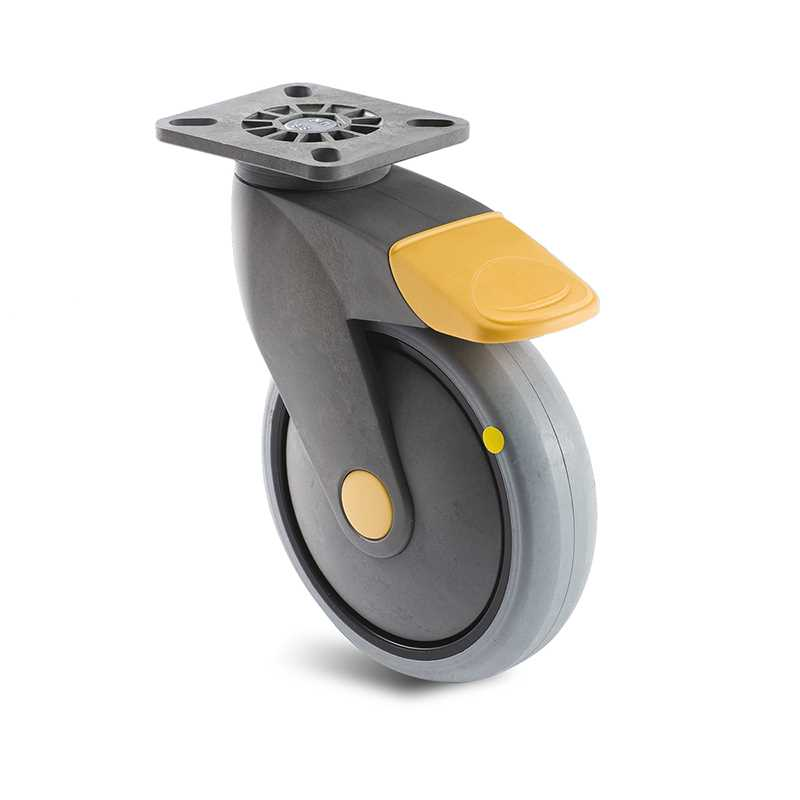 Roulette à platin pivotante conductrice