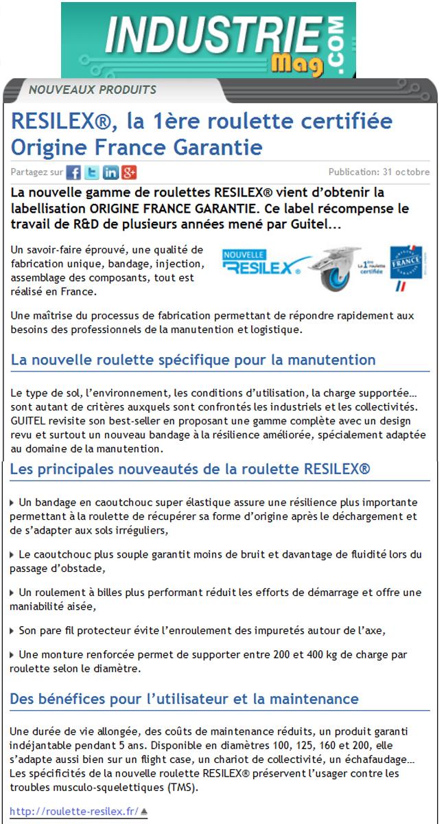 La nouvelle roulette RESILEX certifiée Origine France Garantie
