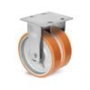 Roulette à platine – 720 à 1500 kg - à platine fixe, 50+50, 720, 100, 150, Roulette à platine acier, 150x175, 14.5, à billes, 105x80