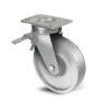 Roulette à platine – 450 à 1200 kg - à platine pivotante à double blocage, 35, 400, 100, 150, 43, 150x110, 13, à rouleaux, 105x80