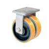 Roulette à platine – 2450 à 4950 kg - à platine fixe, 75+75, 3100, 250, 250, Roulette à platine acier, 200x160, 18, à billes, 160x120