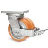 Roulette à platine – 3950 à 5500 kg - à platine pivotante à simple blocage, 100+100, 4500, 300, 300, Roulette en acier avec déport 85, 18, à billes, 210x160