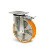 Roulette à platine – 400 à 1000 kg - à platine pivotante à double blocage, 50, 400, 100, 142, 55, 135x110, 11, à billes, 105x80