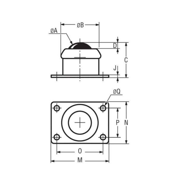 Billes à platine rectangulaire – de 10 à 500 kg