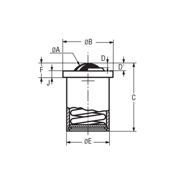 Billes à socle cylindrique avec déflecteur – de 50 à 130 kg