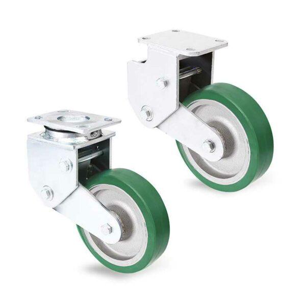 Roulettes à suspension à ressort